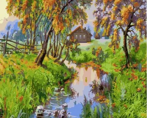 """RADUGA Картина по номерам """"Домик у реки"""" 40х50 см (GX4745)"""