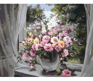 "RADUGA Картина по номерам ""Букет на окне"" 40х50 см (GX7343)"