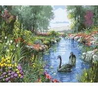 "RADUGA Картина по номерам ""Чёрные лебеди"" 40х50 см (GX7854)"