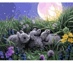 "RADUGA Картина по номерам ""Три зайчонка под луной"" 40х50 см (GX9525)"