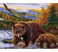 Картина по номерам 40х50 см G351 Медведица с медвежонком
