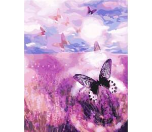 G393 Бабочки над лавандовым полем