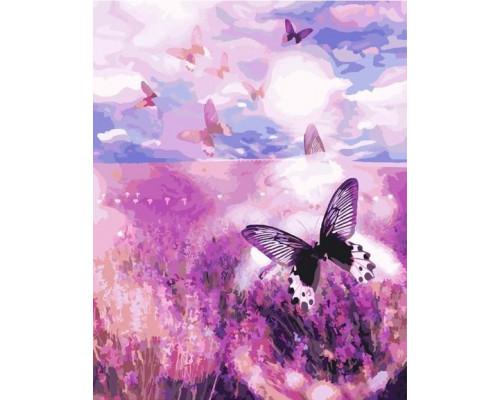 Картина по номерам 40х50 см G393 Бабочки над лавандовым полем