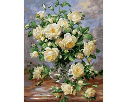 Картина по номерам 40х50 см G439 Букет белых роз