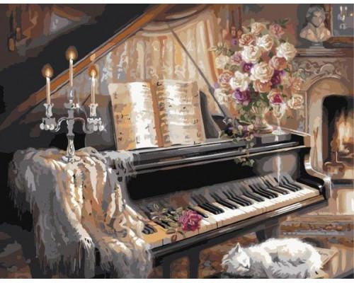 G467 Кошка у рояля