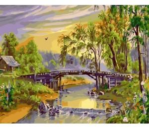 """RADUGA Картина по номерам """"Деревянный мост через реку"""" 40х50 см (GX21133)"""