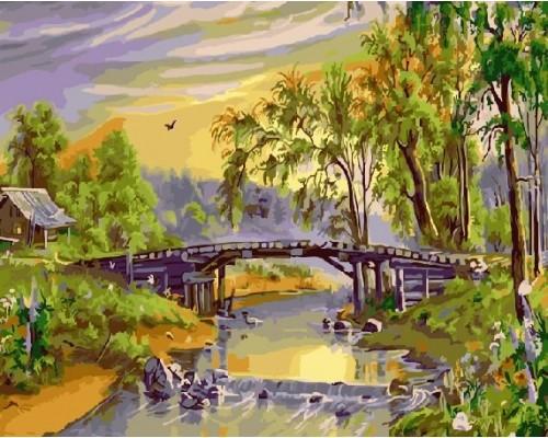 """Картина по номерам """"Деревянный мост через реку"""" 40х50 см (GX21133)"""