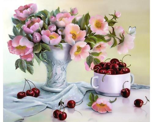 """RADUGA Картина по номерам """"Букет цветов и спелая черешня""""  40х50 см (GX21539)"""
