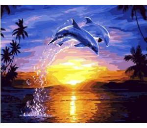 "RADUGA Картина по номерам ""Дельфины на закате"" 40х50 см (GX21693)"