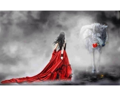 "RADUGA Картина по номерам ""Девушка и волк"" 40х50 см (GX22576)"