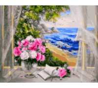 "Картина по номерам ""Букет на окне у моря"" 40х50 см (GX23064)"