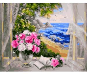 "RADUGA Картина по номерам ""Букет на окне у моря"" 40х50 см (GX23064)"