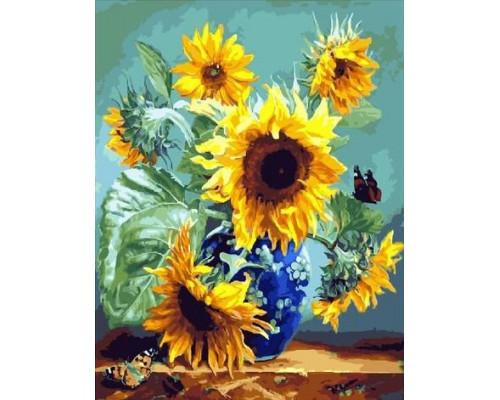 "RADUGA Картина по номерам ""Подсолнух и бабочки"" 40х50 см (GX26805)"
