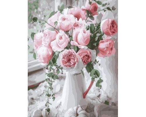 "RADUGA Картина по номерам ""Букет нежных роз у окна"" 40х50 см (GX29390)"