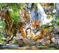"RADUGA Картина по номерам ""Тигрята у водопада"" 40х50 см (GX33783)"