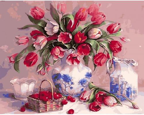 """RADUGA Картина по номерам """"Тюльпан и вишня""""  40х50 см (GX5418)"""