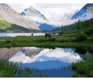 Картина по номерам «Лошади у гор»