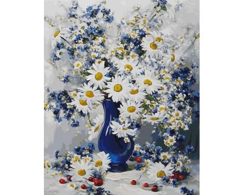 RDG-0354 Ромашки в синей вазе