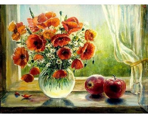 RDG-0672 Натюрморт с яблоками и маками