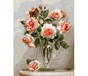 Картина по номерам 40х50 см RDG-0936 Розы в прозрачной вазе