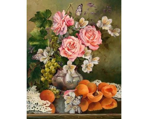RDG-1249 Натюрморт с персиками и бабочками