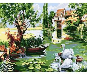 """RADUGA Картина по номерам """"Лебеди в пруду"""" 40х50 см (RDG-2045)"""