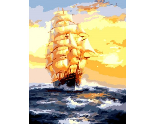 Картина по номерам «Корабль на закате»