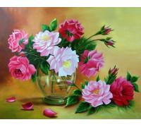"""Картина по номерам """"Пионы в прозрачной вазе"""" 40х50 см (RDG-2445)"""