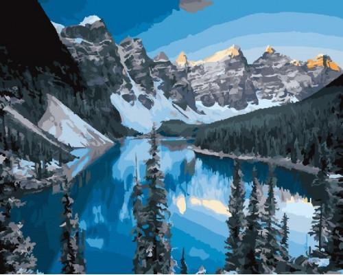 """RADUGA Картина по номерам """"Озеро среди гор""""  40х50 см (RDG-2716)"""