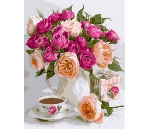 """Картина по номерам """"Розы и кофе"""" 40х50 см (RDG-3429)"""