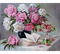 Картина по номерам 40х50 см Пионы и сладкая клубника