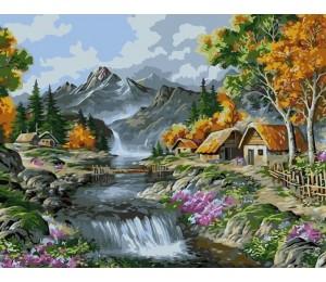"""Colibri Картина по номерам """"Домик у водопада"""" 40х50 см (VA-0879)"""