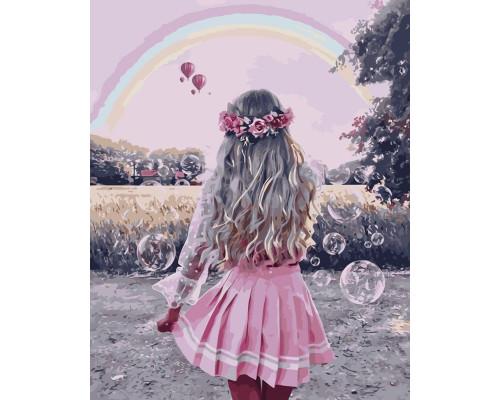 Картина по номерам 40х50 см Девушка в розовой юбке